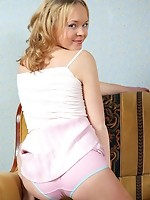 Nubile natalia removes her skirt so she can have easier access to her teen treasures